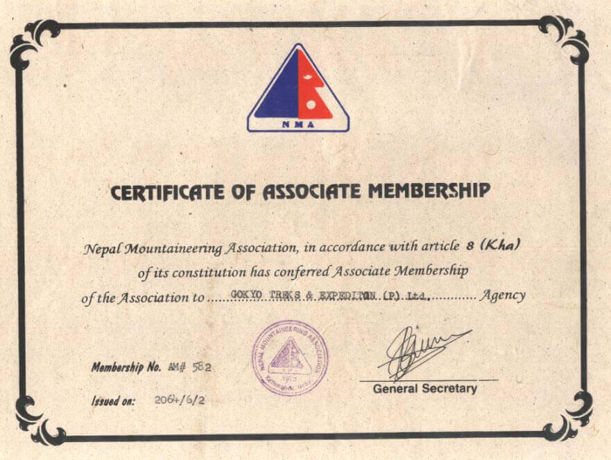 Peak climbing Licence from Nepal Mountaineering Association