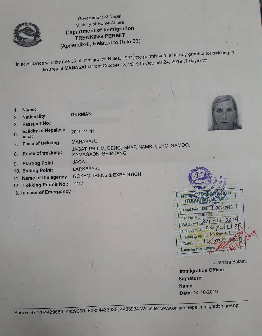 manaslu permit