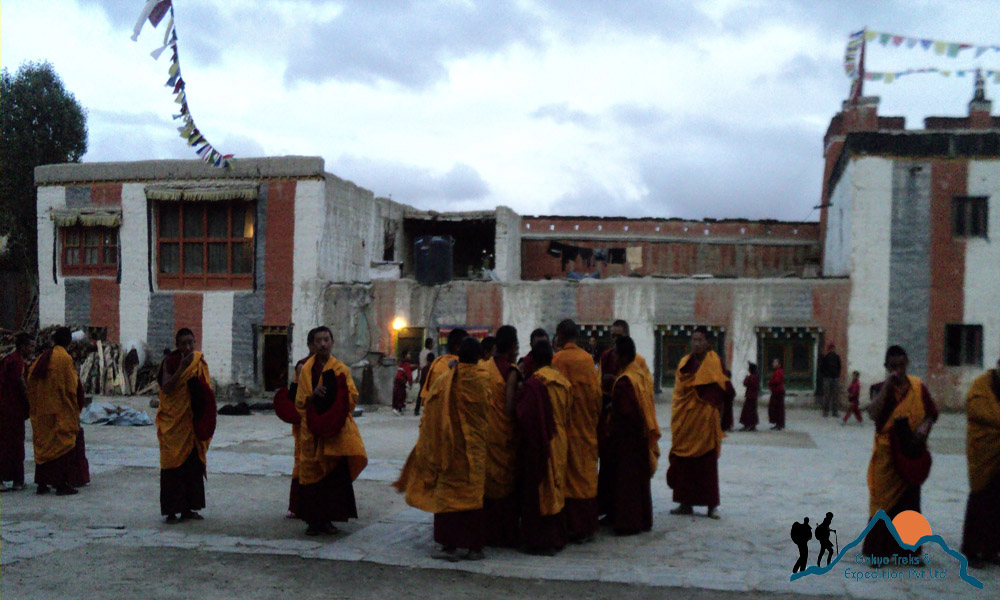 monks in Lo manthang, mustang